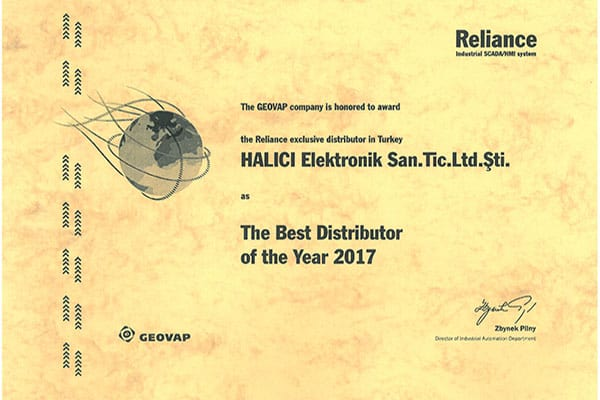 HALICI certificate The Best Distributor 2017