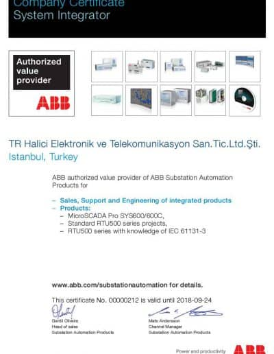 ABB SCADA-RTU Sertifika